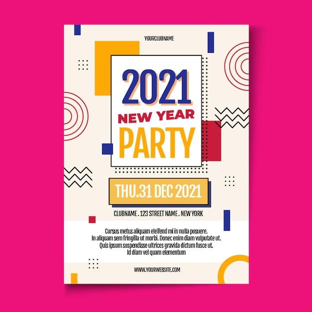 Modelo de folheto de festa plana de ano novo 2021 Vetor grátis