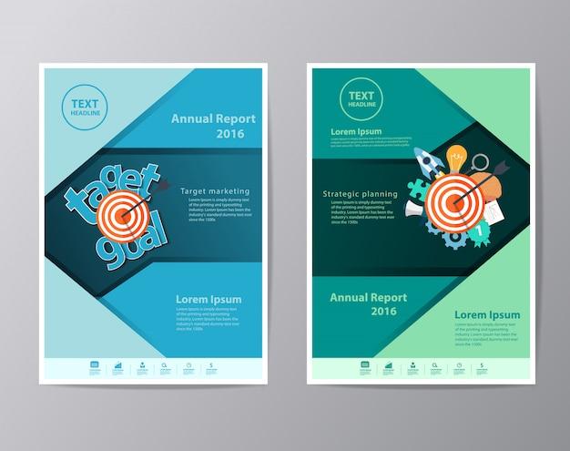 Modelo de folheto de folheto de folheto de relatório anual Vetor Premium