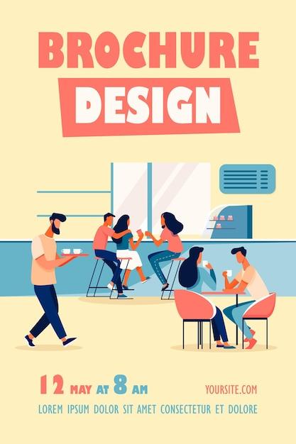 Modelo de folheto de ilustração de interiores de cafeteria Vetor grátis