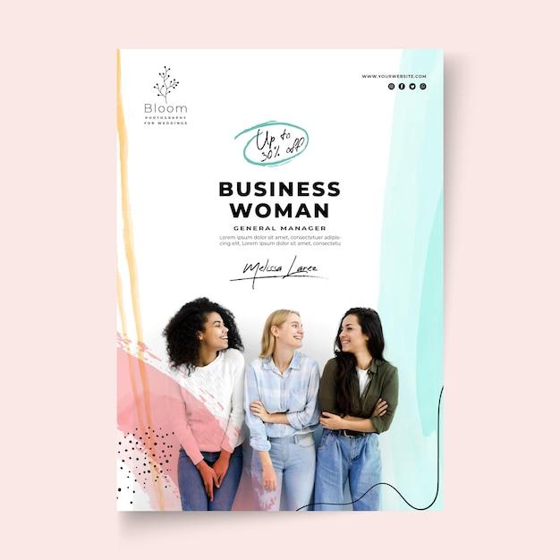 Modelo de folheto de mulher de negócios Vetor Premium