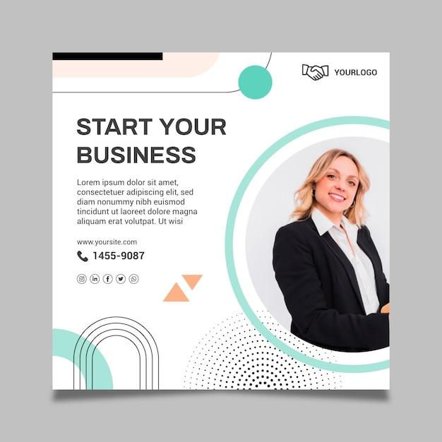 Modelo de folheto de mulher de negócios Vetor grátis