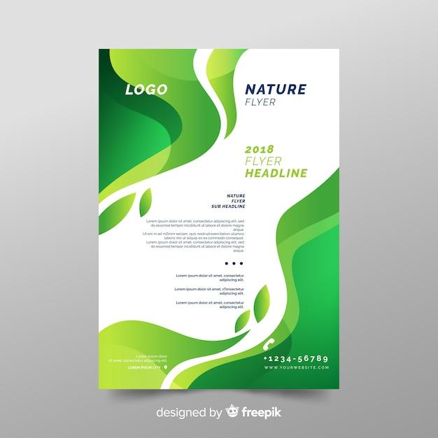 Modelo de folheto de natureza com design moderno Vetor grátis