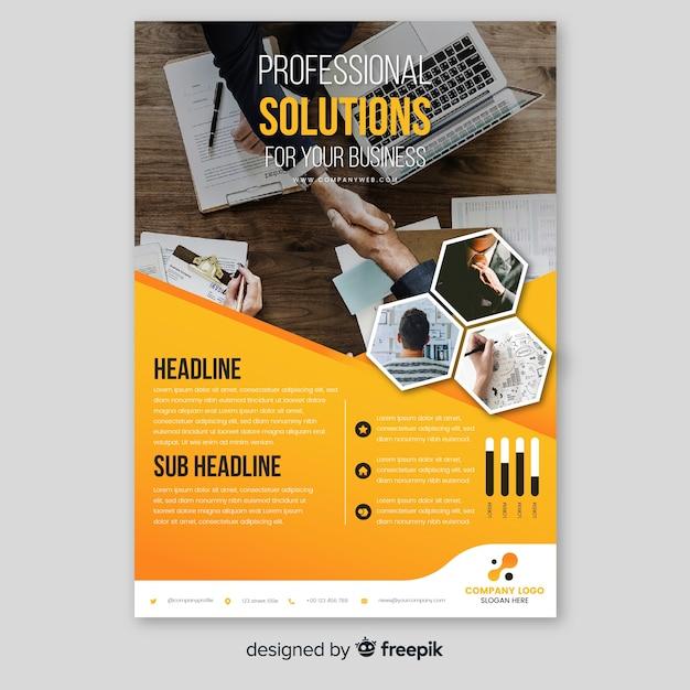 Modelo de folheto de negócios com foto Vetor grátis