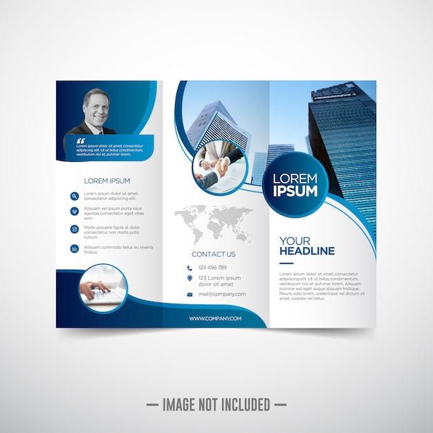 Modelo de folheto de negócios com três dobras Vetor Premium