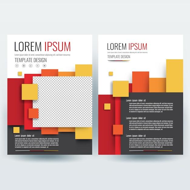Modelo de folheto de negócios, modelo de design de folhetos, perfil da empresa, revista, cartaz, relatório anual, capa de livro e livreto, com colorido geométrico, no tamanho a4. Vetor grátis