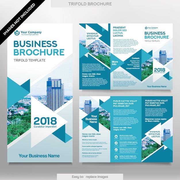 Modelo de Folheto de Negócios no Layout Tri Fold. Folheto de design corporativo com imagem substituível. Vetor Premium