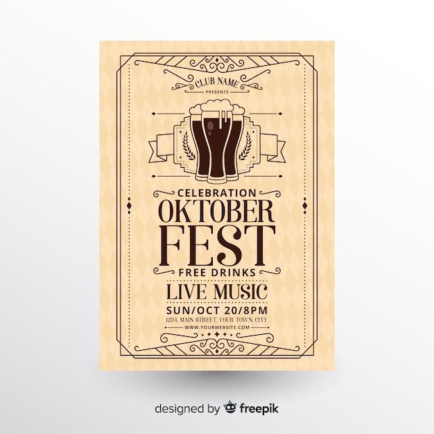 Modelo de folheto de oktoberfest moderno com design plano Vetor grátis