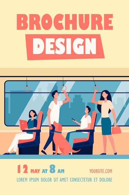 Modelo de folheto de pessoas andando de metrô Vetor grátis