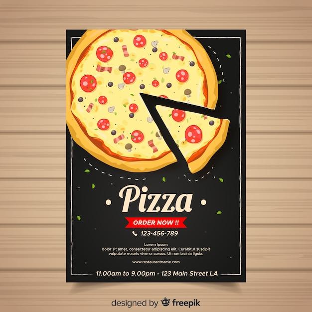 Modelo de folheto de pizza desenhada de mão Vetor grátis