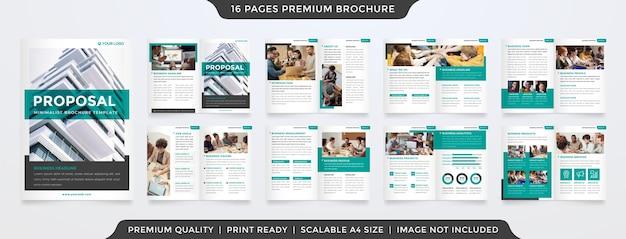 Modelo de folheto de proposta bifold minimalista Vetor Premium
