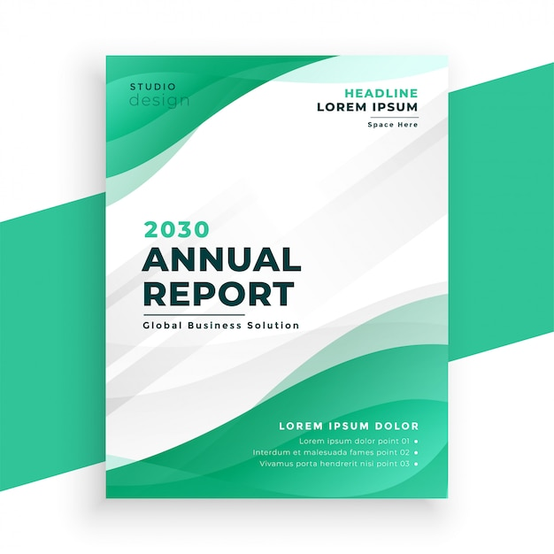 Modelo de folheto de relatório anual de negócios em cor turquesa elegante Vetor grátis