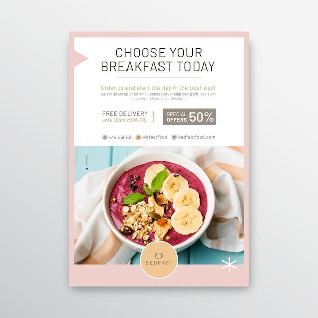 Modelo de folheto de restaurante de café da manhã Vetor grátis