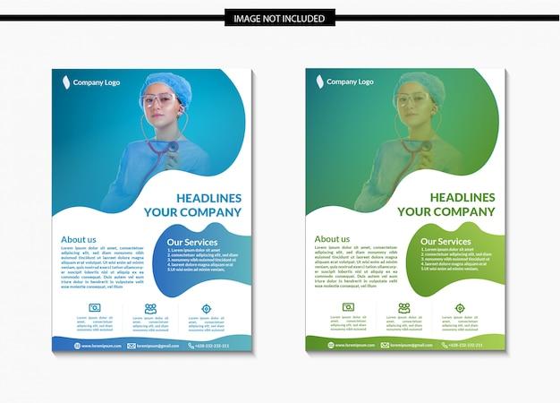 Modelo de folheto de saúde e médicos em a4 Vetor Premium