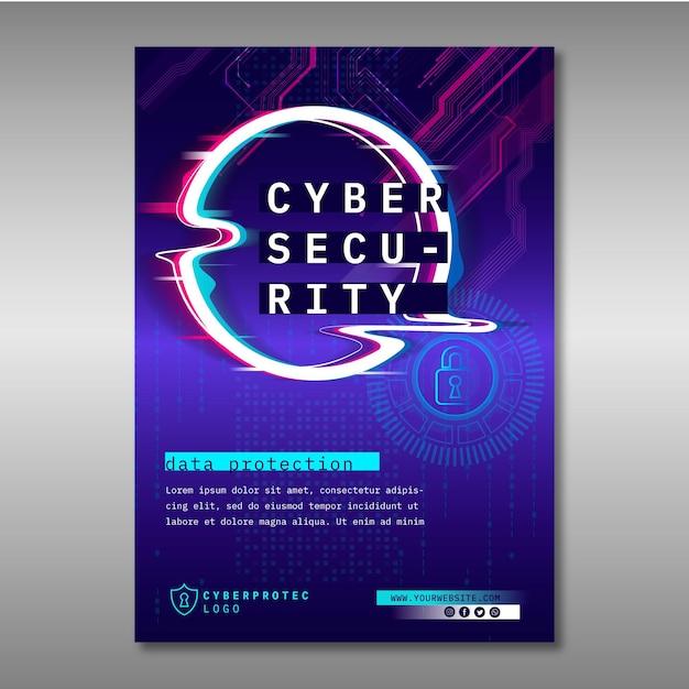 Modelo de folheto de segurança cibernética Vetor grátis