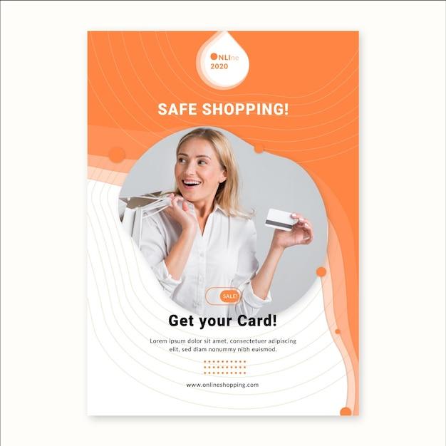 Modelo de folheto de serviço de compras online Vetor grátis