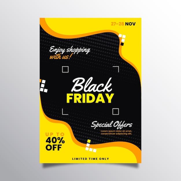 Modelo de folheto de sexta-feira negra em design plano Vetor Premium