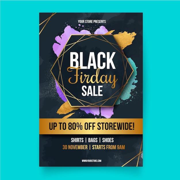 Modelo de folheto de sexta-feira negra em design plano Vetor grátis