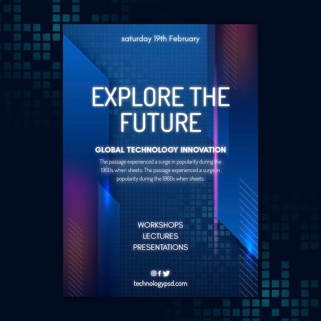 Modelo de folheto de tecnologia e futuro Vetor Premium