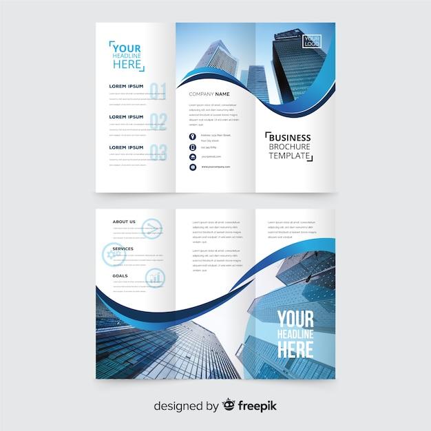 Modelo de folheto de três dobras de negócios Vetor grátis