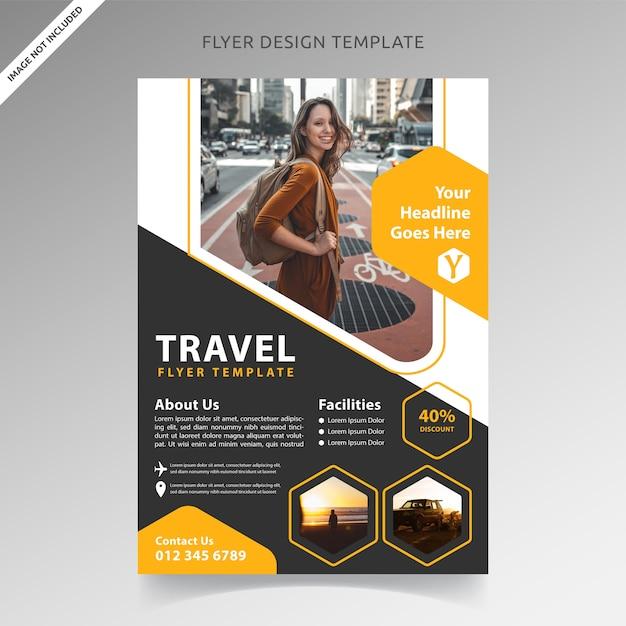 Modelo de folheto de turismo e férias Vetor Premium