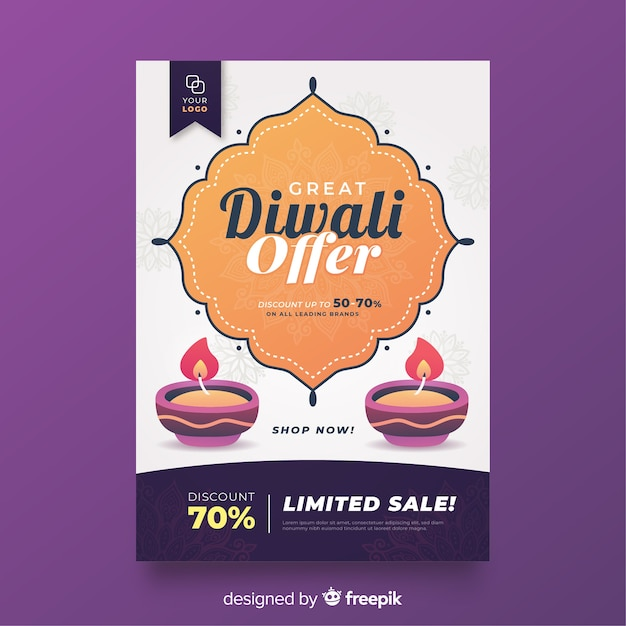 Modelo de folheto de venda de diwali plana e velas Vetor grátis