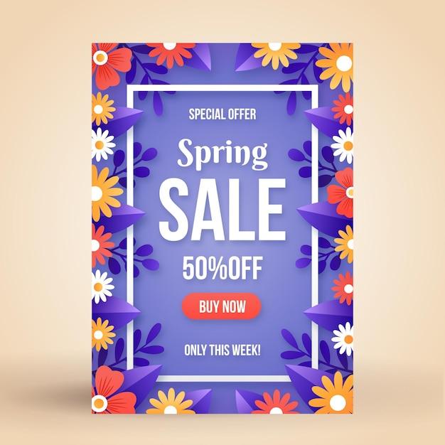 Modelo de folheto de venda de primavera plana Vetor grátis