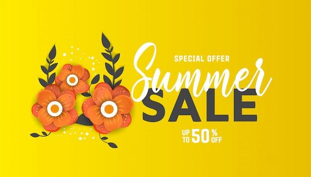 Modelo de folheto de venda de verão Vetor Premium