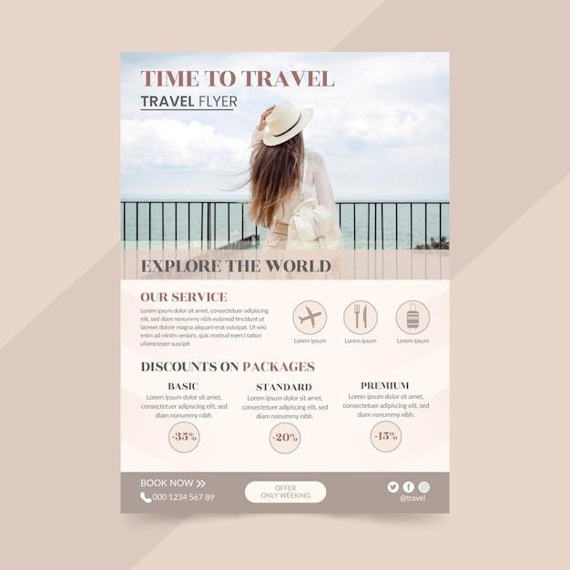 Modelo de folheto de venda de viagens com foto Vetor grátis