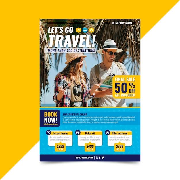 Modelo de folheto de venda de viagens Vetor grátis