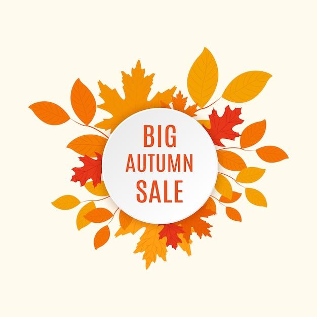 Modelo de folheto de venda outono com letras. folhas de outono brilhantes. projeto de conceito de oferta de venda de outono com folhas planas Vetor Premium