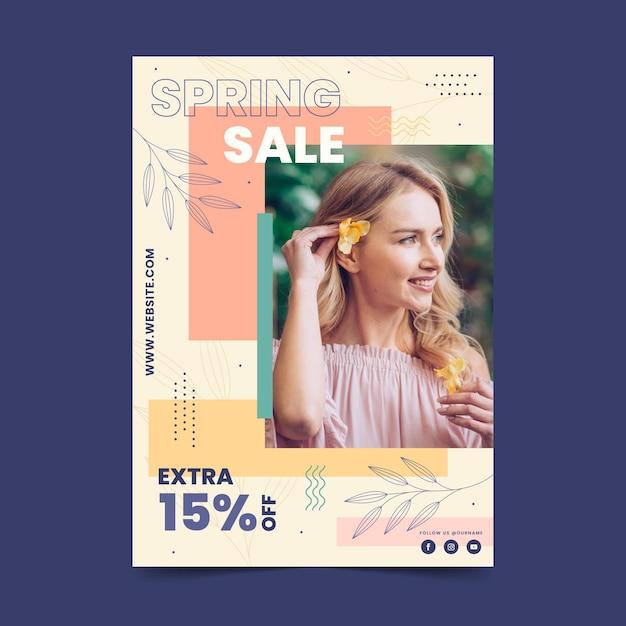 Modelo de folheto de venda plana com foto Vetor grátis