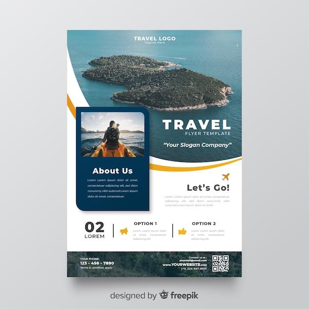 Modelo de folheto de viagem com foto Vetor grátis
