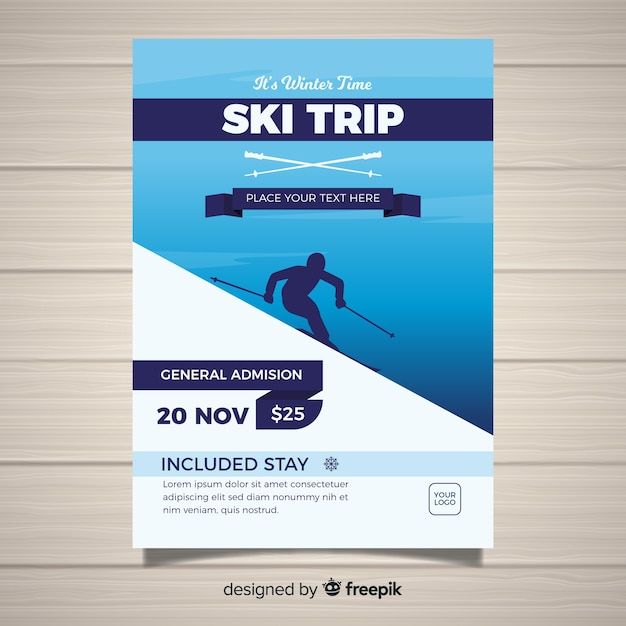 Modelo de folheto de viagem de esqui Vetor grátis