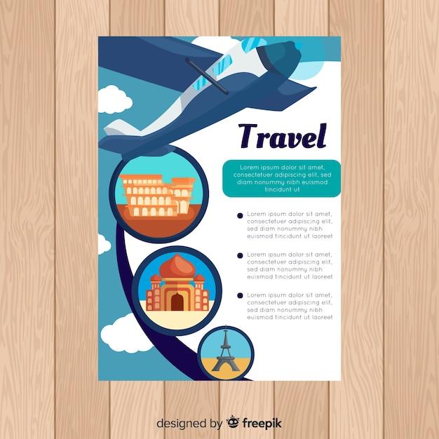 Modelo de folheto de viagem plana Vetor grátis