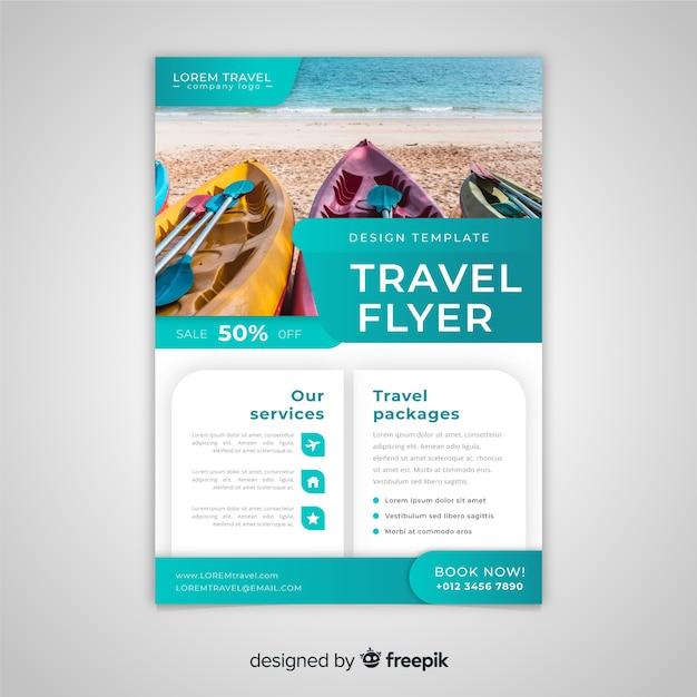 Modelo de folheto de viagens com foto Vetor grátis