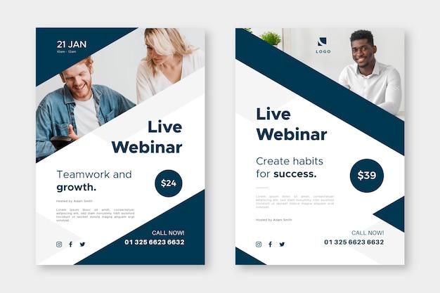 Modelo de folheto de webinar com fotos Vetor Premium
