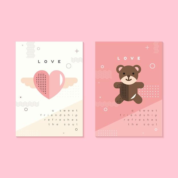Modelo de folheto e cartão de dia dos namorados Vetor grátis