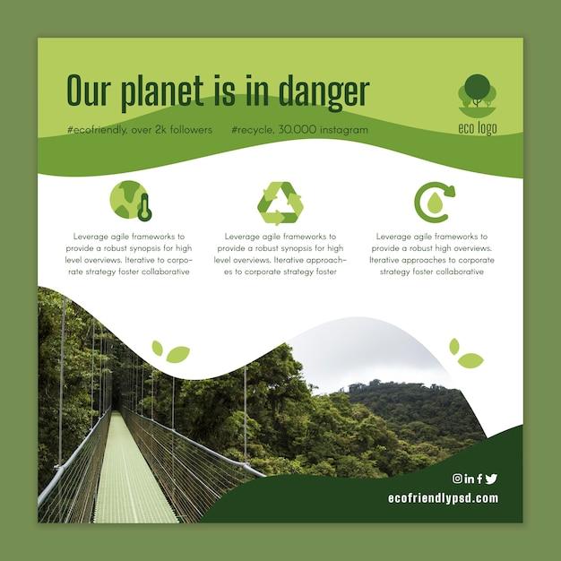 Modelo de folheto - ecologia Vetor grátis