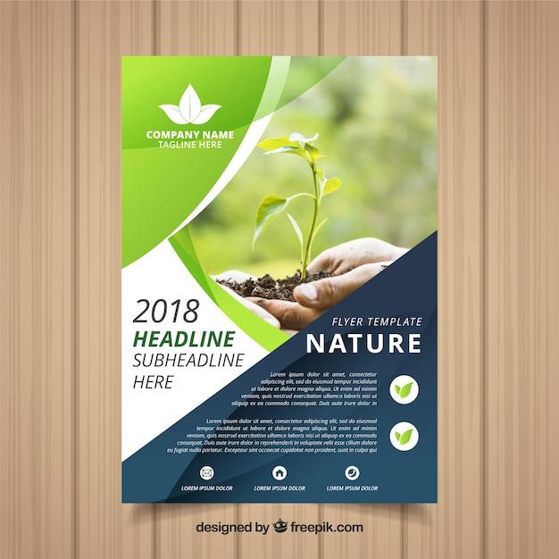 Modelo de folheto elegante natureza com foto Vetor grátis