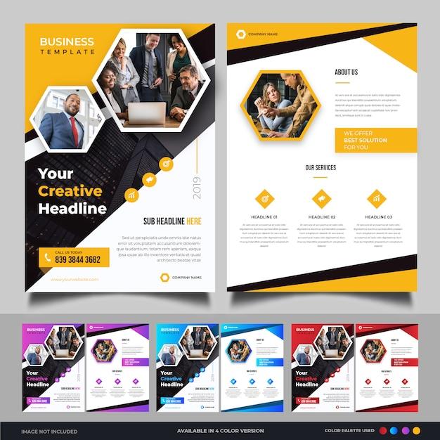 Modelo de folheto empresarial moderno Vetor Premium