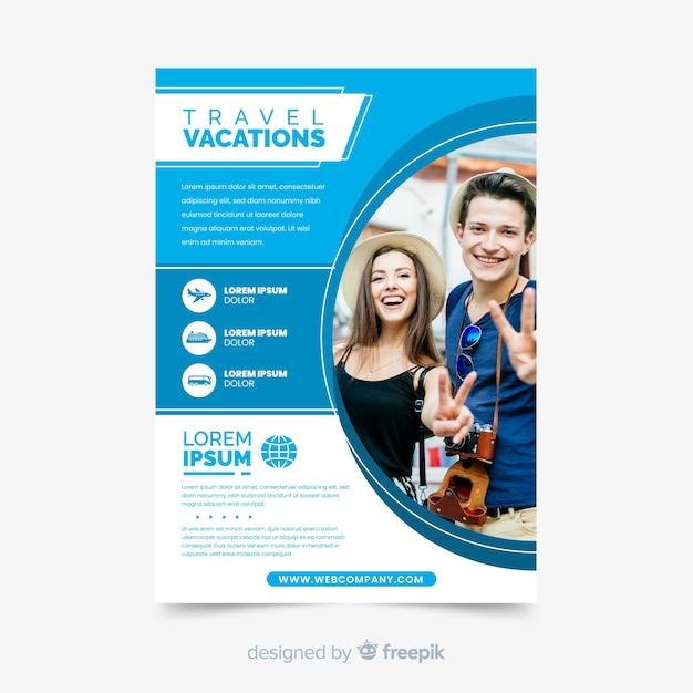 Modelo de folheto - férias com foto Vetor grátis