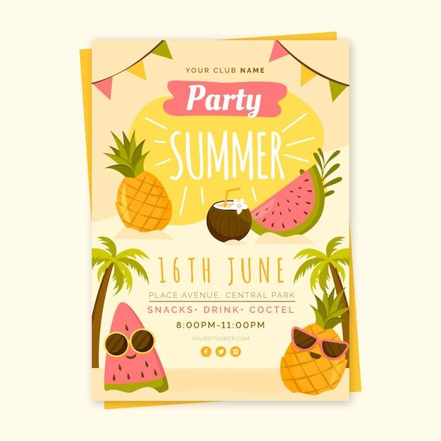 Modelo de folheto - festa de verão Vetor grátis