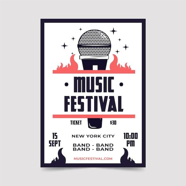 Modelo de folheto - festival de música retrô Vetor grátis