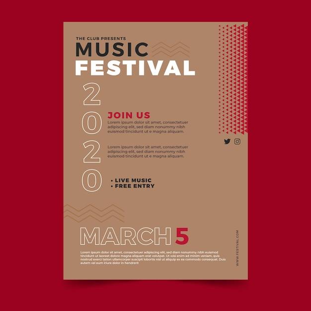 Modelo de folheto - festival de música Vetor grátis