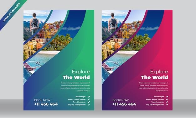 Modelo de folheto - hotel e viagens Vetor Premium