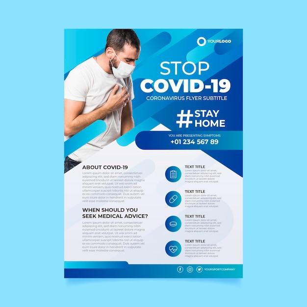 Modelo de folheto informativo de coronavírus Vetor Premium