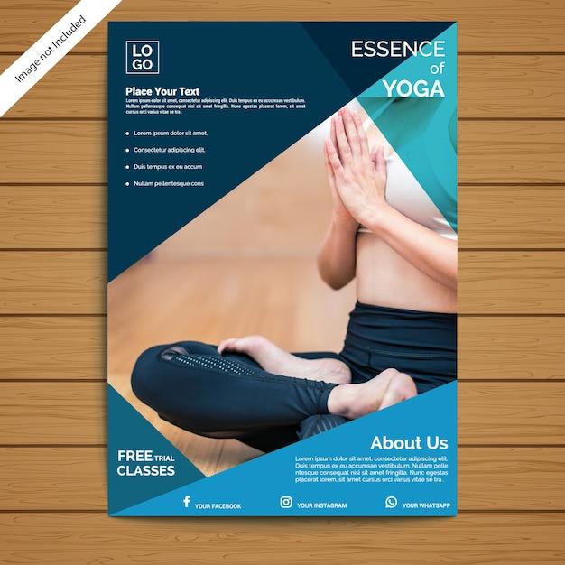 Modelo de folheto - ioga Vetor Premium