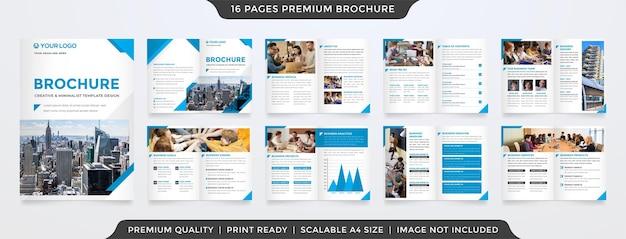 Modelo de folheto limpo com duas dobras e conceito minimalista Vetor Premium