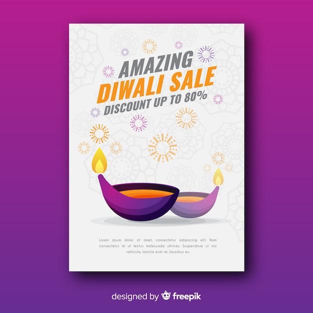 Modelo de folheto linda venda diwali com design plano Vetor grátis