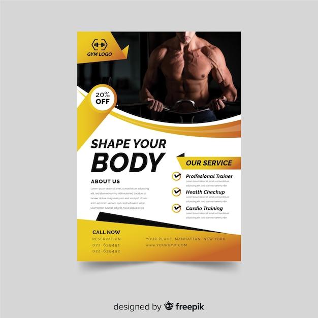 Modelo de folheto moderno fitness Vetor grátis